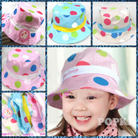 Boy Summer Fedora Fashion 3 colors children hat colored dots cute cloth bucket hats girls hat 100pcs