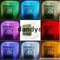 Wholesale FreeShipping Glowing Led Color Change Digital Alarm Clock