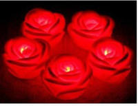 Wholesale Red Color Led Rose Flower Light led illumination roses love lamp led wishing lights flower light FreeShipping