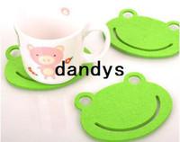 Bamboo bamboo coasters - Green color felt Frog design cartoon cup mat sweet cup pad coaster Mats amp Pads