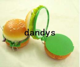 Wholesale Artificial food artificial hamlburger with mirror hand Mirror portable pocket cosmetic mirror Design