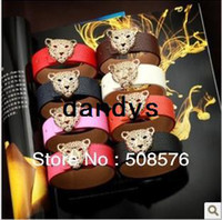 Wholesale new arrival Fashion Personality color Leopard head design bangles pu leather bracelets or retail