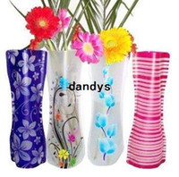 Wholesale Opp Package CM Ramdon Mix style colors Fashion style foldable plastic flower vase PVC flower vase