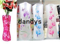 Wholesale Opp Package CM S size Ramdon MIX style colors foldable plastic flower vase PVC flower vase Folding vase