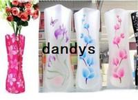 venda por atacado and plastic flower vases-Opp Package 11.8 * 27.5cm (tamanho S) Ramdon MIX 20-30style / cores atacado dobrável flor de plástico PVC vaso de flor vaso vaso Folding