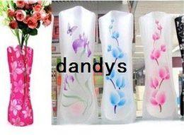 Wholesale Opp Package CM S size Ramdon MIX style colors foldable plastic flower vase PVC flower vase Folding vase