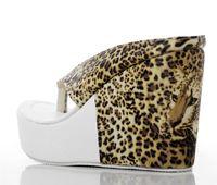 Women Platform Heel  Free shipping sandals boots   Leopard Print high heel Women waterproof wedge heel   toe Beach sandals folder