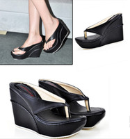 Wholesale 7 color high with Beach sandals waterproof Taiwan wedges clip toe sandals
