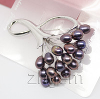 Wholesale 1pcs black Freshwater pearl brooch mm