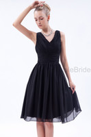 Wholesale No Risk Shopping Fashion Black Sleeveless Zipper A line Chiffon Natural Knee length Ruched V neck Party Bridesmaid Dress