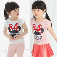 Wholesale Cute Baby Girls Kids Pure Cotton T Shirts Korean Short Sleeved Adorable Minnie Letters Tops Bontique Sleeve White Pink Casual For Y
