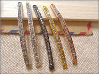 Wholesale 50PCS mm mm Diy Bling Skinny Sideways Crystal Rhinestones Curved Tubes Bars For Making Bracelets Jewelry Findings in color