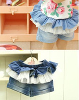 Wholesale Summer Children Girls Ruffles Lace Denim Short Pants Girl Blue Peplum Pompon Jeans Short Trousers B0224