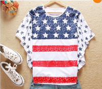 Wholesale Fahion T shirts Hot stylish fashion girl women USA flag T shirt loose bat style huge sleeves T Shirts Tops with tracking number