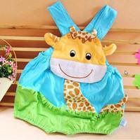 nouvelles 2pcs Summer babys coton girafe barboteuse de bébé garçons filles rose des combinaisons d'une pièce de bleu salopettes barboteuse livraison gratuite