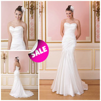 Autumn/Spring beach wedding ceremony - 2016 Lace up Satin Sweetheart Neckline Asymmetrical Ruched Sexy Mermaid Bridal Beach Wedding Party Ceremony Dresses Cheap Simple Style