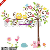 Wholesale ZooYoo Oiginal Design RoomMates Scroll Cute Owl Tree Peel amp Stick Wall Decal Kindergarten Wall Sticker d011