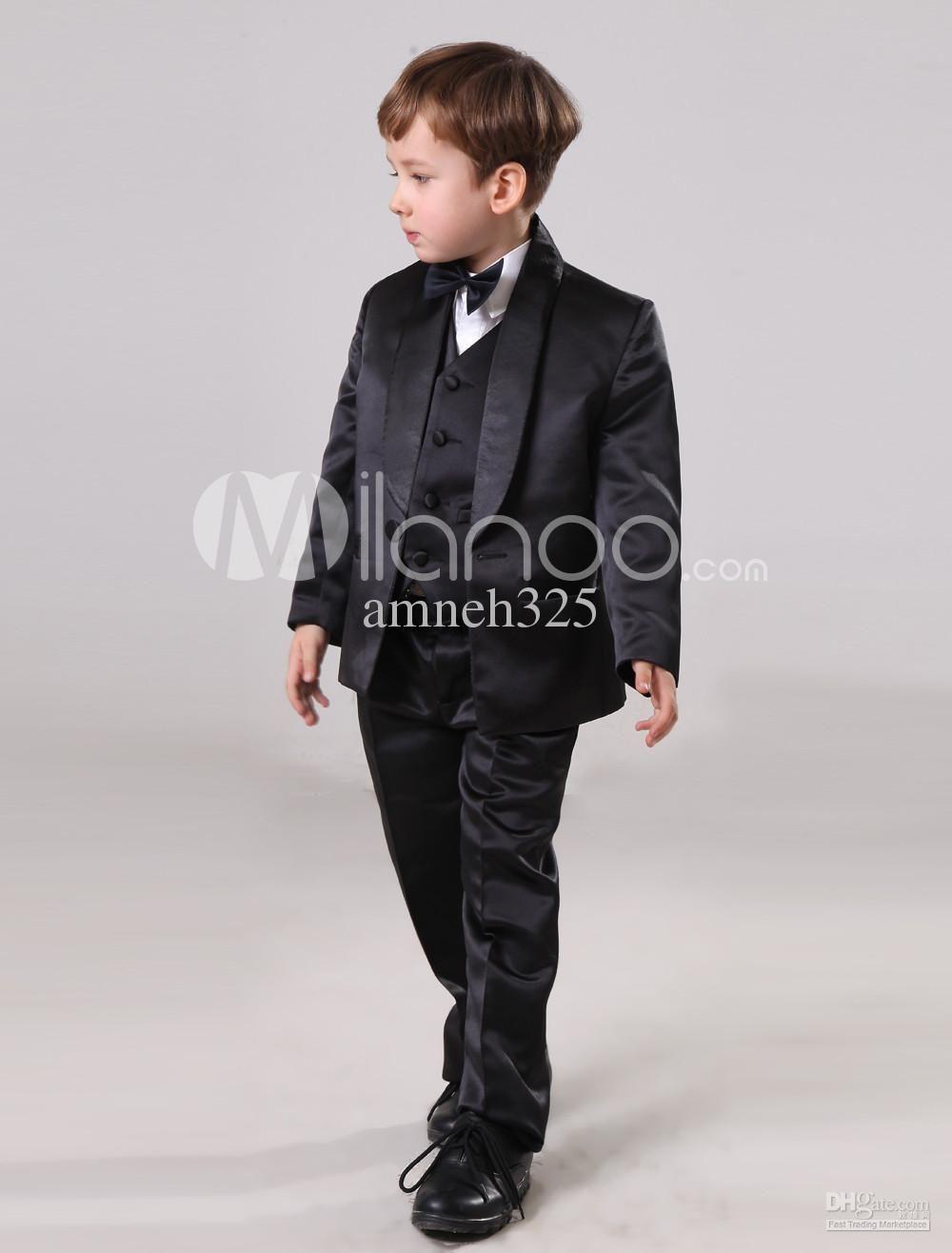 2017 fashion black boys ring bearer suits jacket