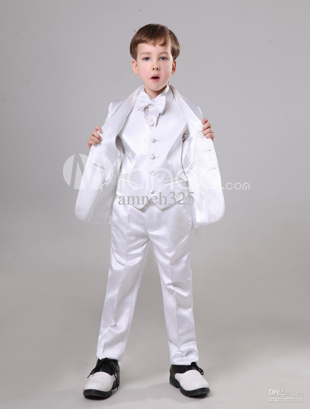 2017 Nice Quality White Satin Ring Bearer Suits For Wedding From ...