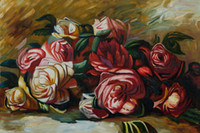 Wholesale flower oil painting Decorative painting modern Art Pierre Auguste Renoir Paining Discarded Roses Hand painted Museum quality