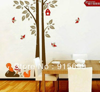 Wholesale Top Me Cute Squirrel amp Bird amp Tree Mural art Decal Wallpaper Decor Wall Stickers NEW TM7123