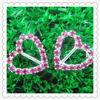 Wholesale heart Shape rose red Rhinestone Ribbon Buckle Sliders mm