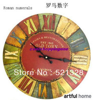 Wholesale Continental Reminiscence Retro Wood Mute Wall Clock Fashion Creative F182
