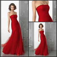 Wholesale 2013 Bridesmaid Dresses Cheap Custom Made A line Strapless Pleats Floor Length Red Tulle Long Wedding Party Gowns Online Shopping