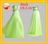 Wholesale Stock Lime Green Fashion Evening Prom Dresses Sweetheart Sexy Designer Crystals Sequins beaded Empire Chiffon Pageant Party Dresses Dress