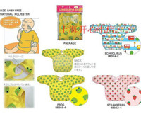 al por mayor prueba de polvo animal-Bebé de manga larga baberos Linda Linda niños de dibujos animados de bebé a prueba de polvo de pintura de polvo manto pintura jugando bibs chaqueta de chaqueta 10pc / lot