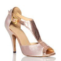 ballroom latin dance shoes - New Flesh Satin Wome T Bars Ballroom Latin Dance Shoe Salsa Dance Shoes Bachata Dancing Shoes Size