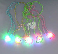 Wholesale 100pcs Cheap Children Christmas Halloween LED flash necklace bead necklace jewelry