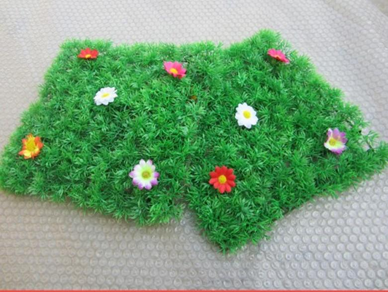 Acheter 25 X 25cm Imitation Artificielle Fausse Herbe Tapis Pelouse En Plastique Pour La Maison