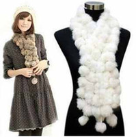 rabbit fur scarves - EMS Women s Fur Scarves Fur Ball velvet Rabbit Long style Woman Winter fall white gray Scarves neckerchief