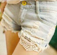 Cheap Wholesale 2013 women new hot shorts washed denim short pants ripped jeans lace hemline and lace short trousers free shipping #8213