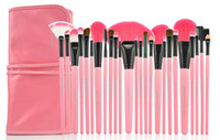 Wholesale 24Pcs Set Make Up Cosmetic Brush Kit Makeup Brushes Pink Black Wood Handle Goat Hair Leather Case