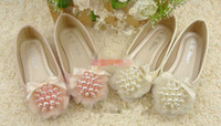 baby boat shoes - Vintage Baby Girls Kids Autumn New Arrival Shoes Round Peals Gauze Bow Boat Shoes Princess Sandals Girly Pink Beige Shoes Elegant