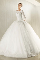 Wholesale Off The Shoulder lace bodice long sleeves wedding dress zuhair murad dress