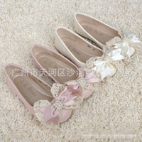 Beige/Pink baby flats - Baby Shoes Korean Kids Shoes Round Head Pearls Lace Bow Girls Sandals Adorable Infant Children Party Flat Shoes Beige Pink EUR