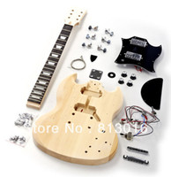 Right - Handed White Mahogany Electric guitar kits! Wholesale Musical Instrumenr basswood body Sg shape Electric Guitar Kit !Free shipping!!