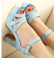 Wholesale Office Lady Womens Sandals Colors Strappy Dreamy Candy Colorful Fashion High Platform Heels Shoes