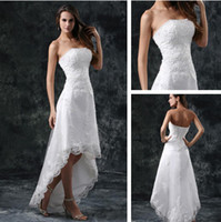 best high tea - 2013 Best Selling Sleeveless High Low Lace Wedding Dresses Front Short And Long Back Bridal Gown