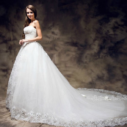 Wholesale Straight Strapless Wedding Dress - 2013 Sexy A-line strapless Big Train Church Wedding Dress Tulle Strapless Straight Bridal Gown evening dress graduation gown prom dresses