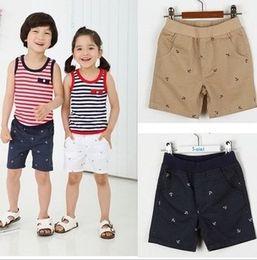 Wholesale Summer Baby Shorts Boys Girls Anchor Printed Short Pants Navy Brown White Children Summer Short Trousers B0234