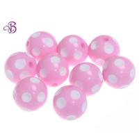 Acrylic, Plastic, Lucite 20mm acrylic beads - Chunky Beads mm Acrylic Polka dot beads Pink amp white