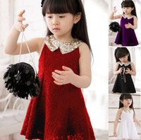 Wholesale Girls dresses summer fashion lace princess wears Kids s sundress sleeveless clothes children s dress hyfzsz