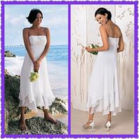 handkerchief dresses - Custom Sexy New Empire Waist Spaghetti Straps Beads Chiffon Tea Length Handkerchief Wedding Dresses Summer Casual Beach Bridal Dresses