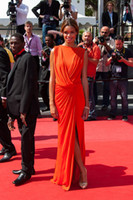 Wholesale Orange V Neck Floor Length High Split Front Fashionable Mermaid by Anais Monory at the Oscars Red Carpet Academy Awards