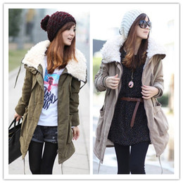 Wholesale 4 Colors Ladies Warm Parka Long Sleeve Zip Up Womens Fleece Winter Coat