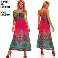 Wholesale 6 Colors M XXL Plus Size New Fashion Women Sexy Strapless Printed Bohemian Maxi Long Beach Dress Summer Casual Dress